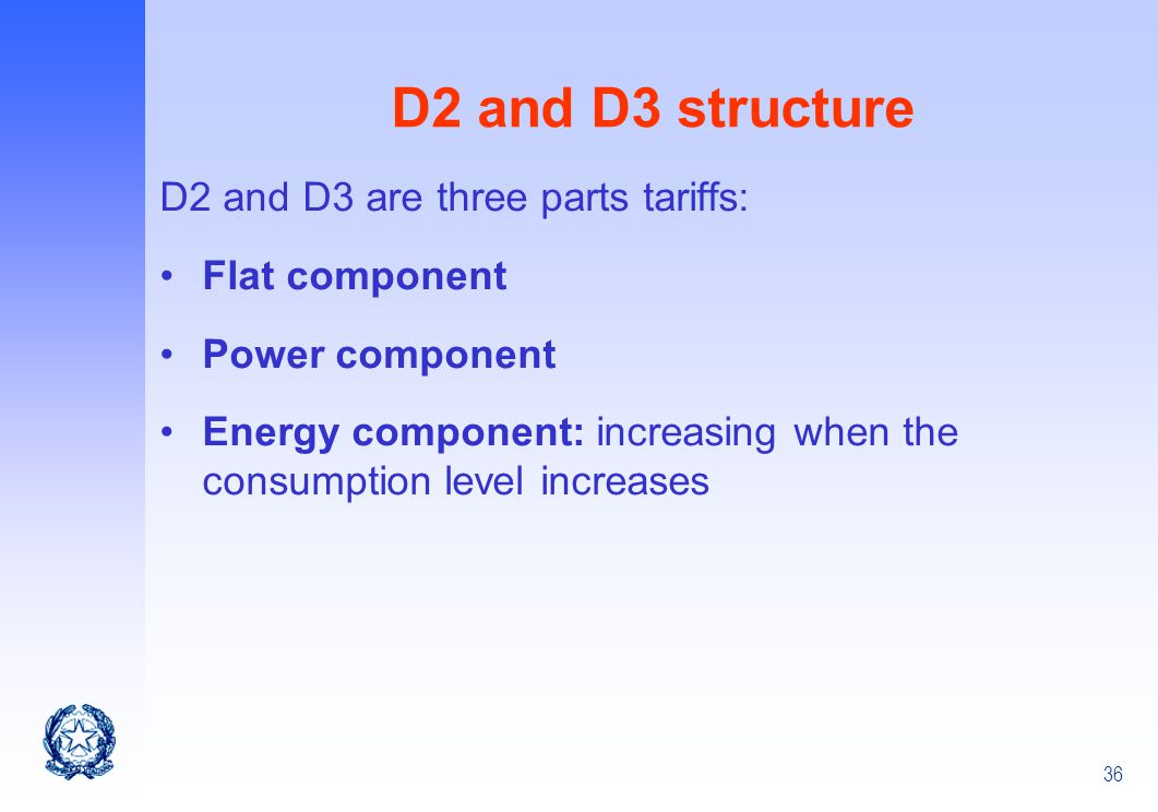 D2 and D3 structure D2 and D3 are three parts tariffs: Flat component