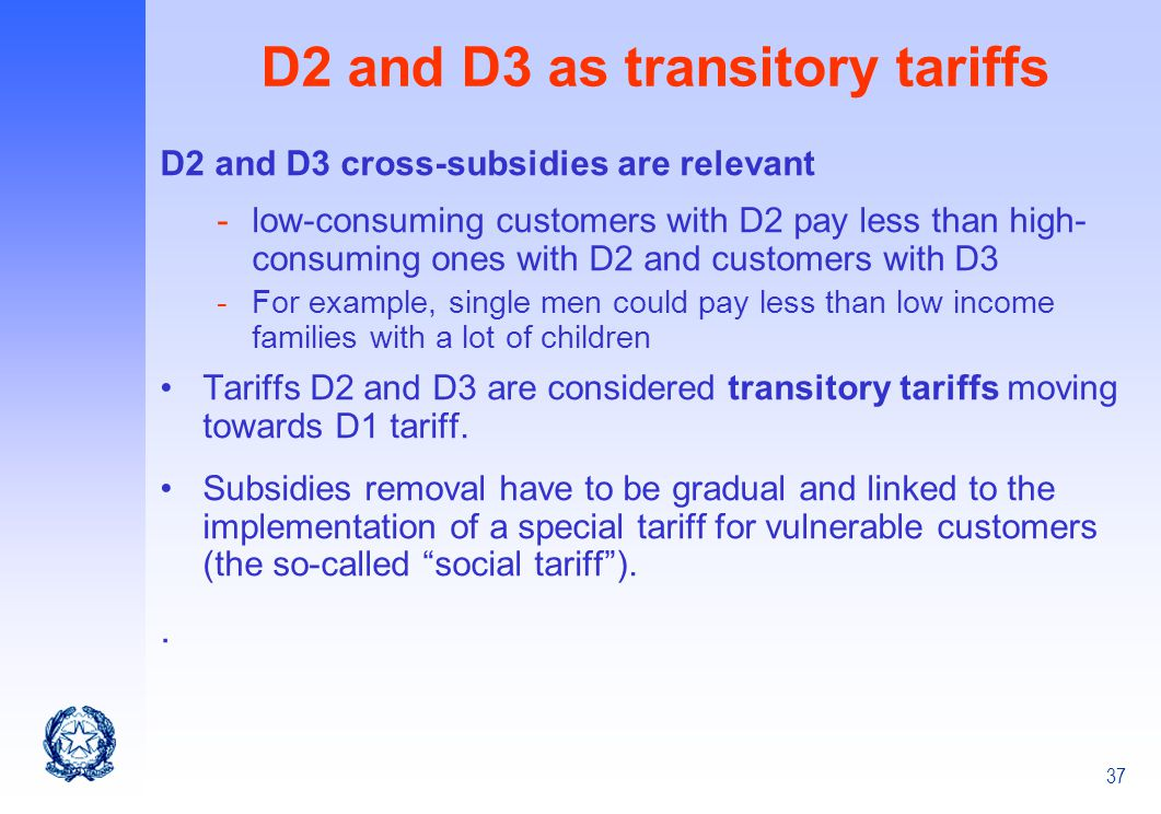 D2 and D3 as transitory tariffs