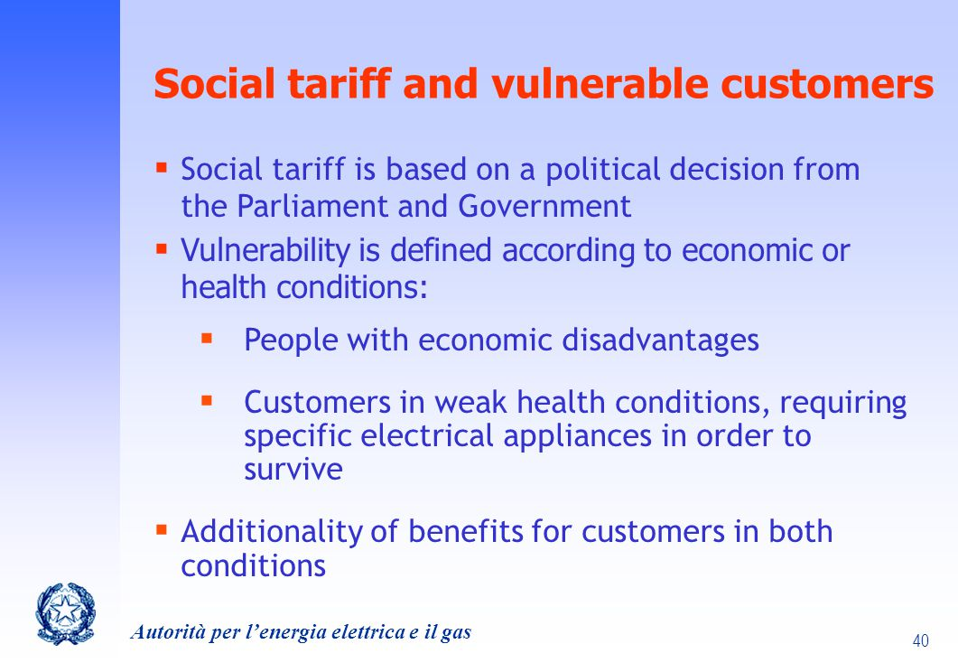Social tariff and vulnerable customers