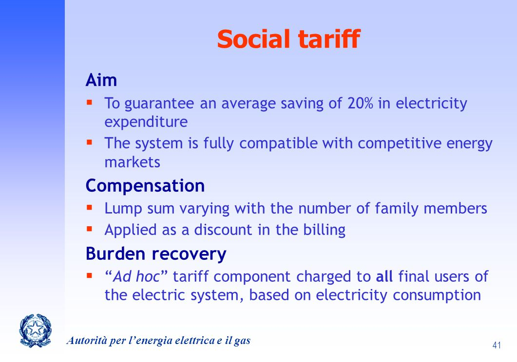 Social tariff Aim Compensation Burden recovery