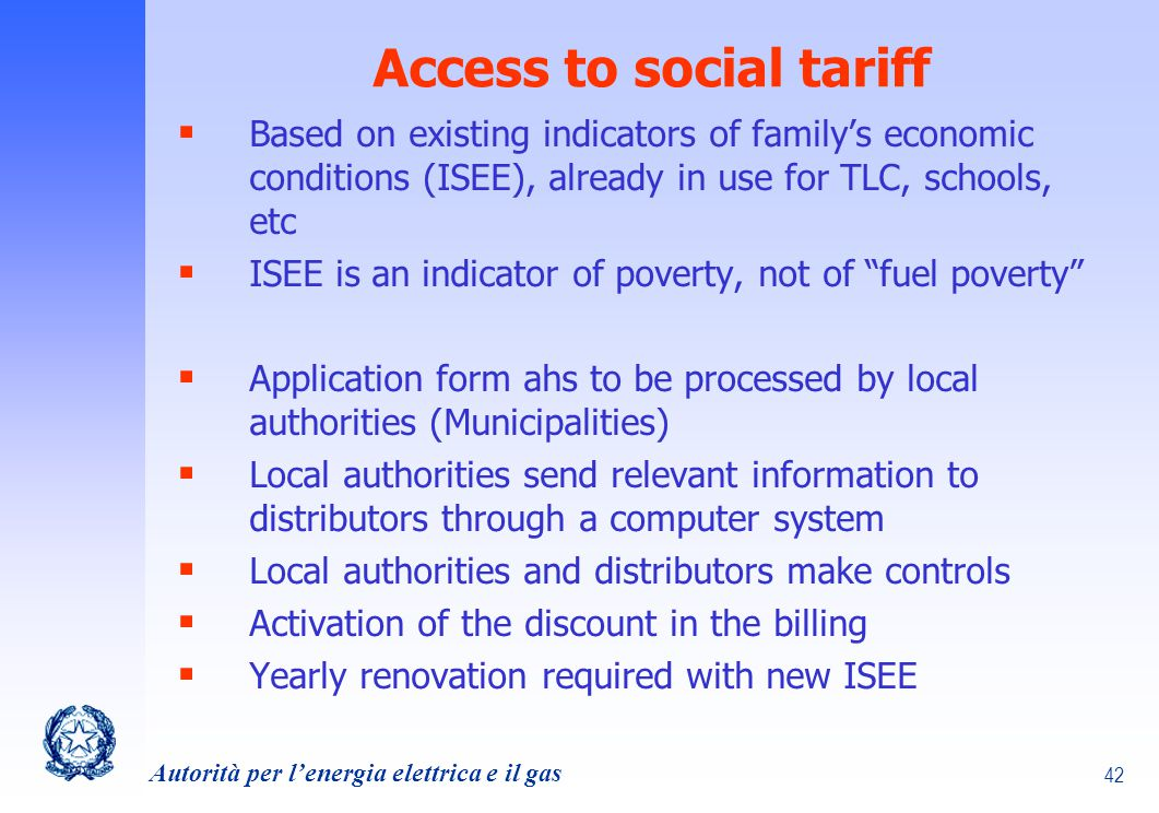 Access to social tariff