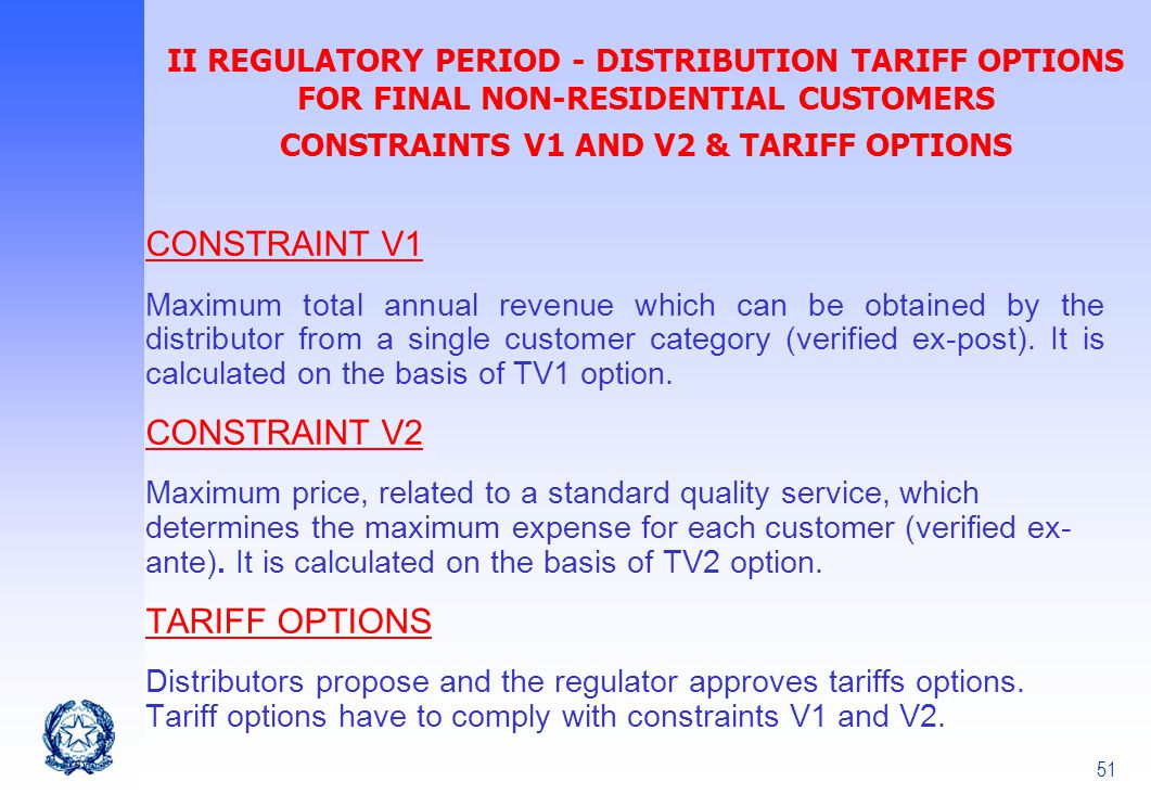 CONSTRAINTS V1 AND V2 & TARIFF OPTIONS