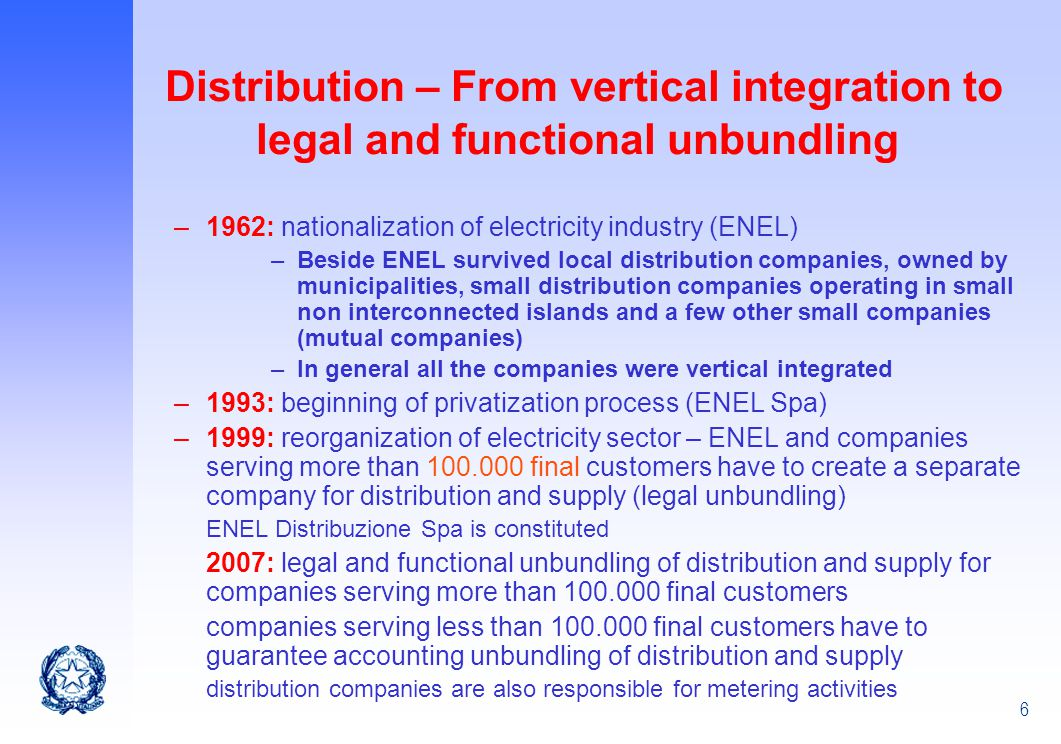 Distribution – From vertical integration to legal and functional unbundling