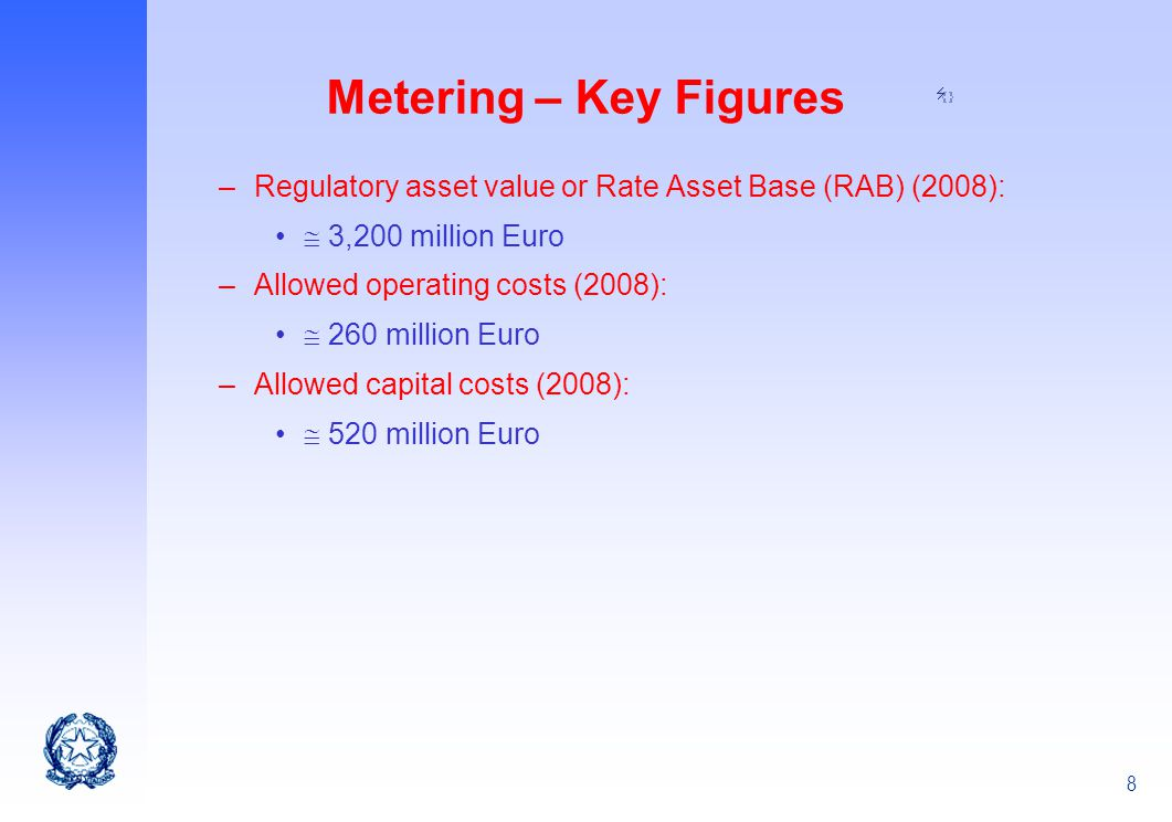 Metering – Key Figures Regulatory asset value or Rate Asset Base (RAB) (2008):  3,200 million Euro.