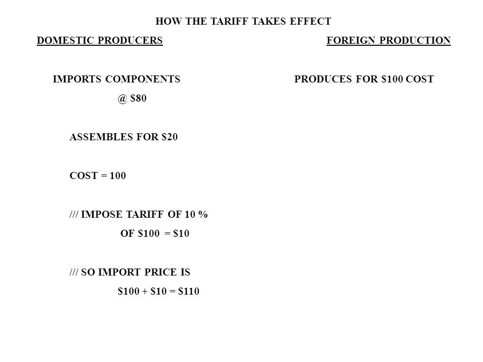 HOW THE TARIFF TAKES EFFECT DOMESTIC PRODUCERS FOREIGN PRODUCTION