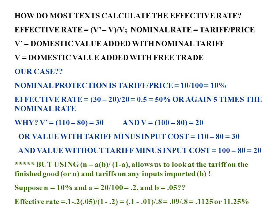HOW DO MOST TEXTS CALCULATE THE EFFECTIVE RATE
