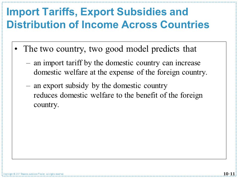 Import Tariffs, Export Subsidies and Distribution of Income Across Countries