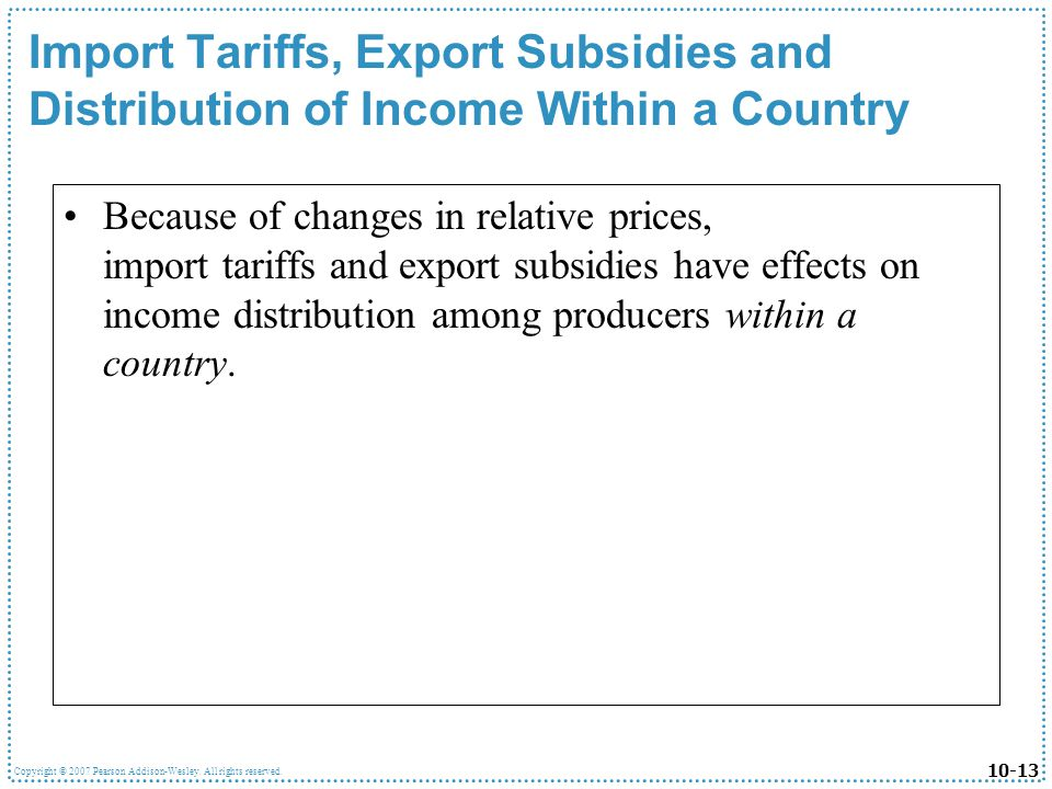 Import Tariffs, Export Subsidies and Distribution of Income Within a Country