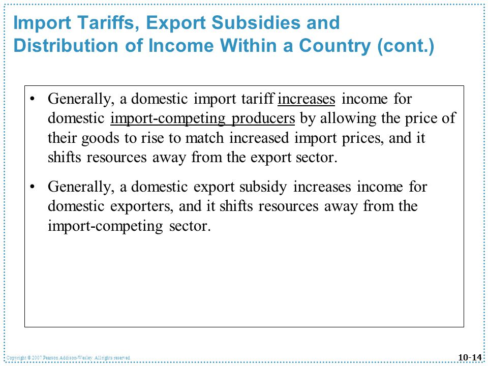 Import Tariffs, Export Subsidies and Distribution of Income Within a Country (cont.)