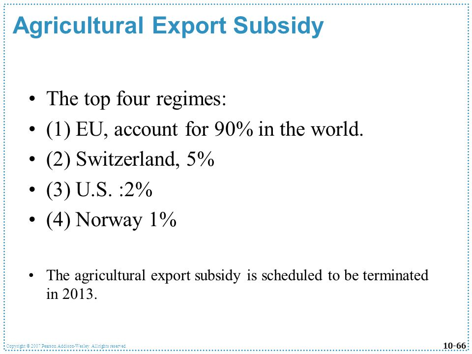 Agricultural Export Subsidy