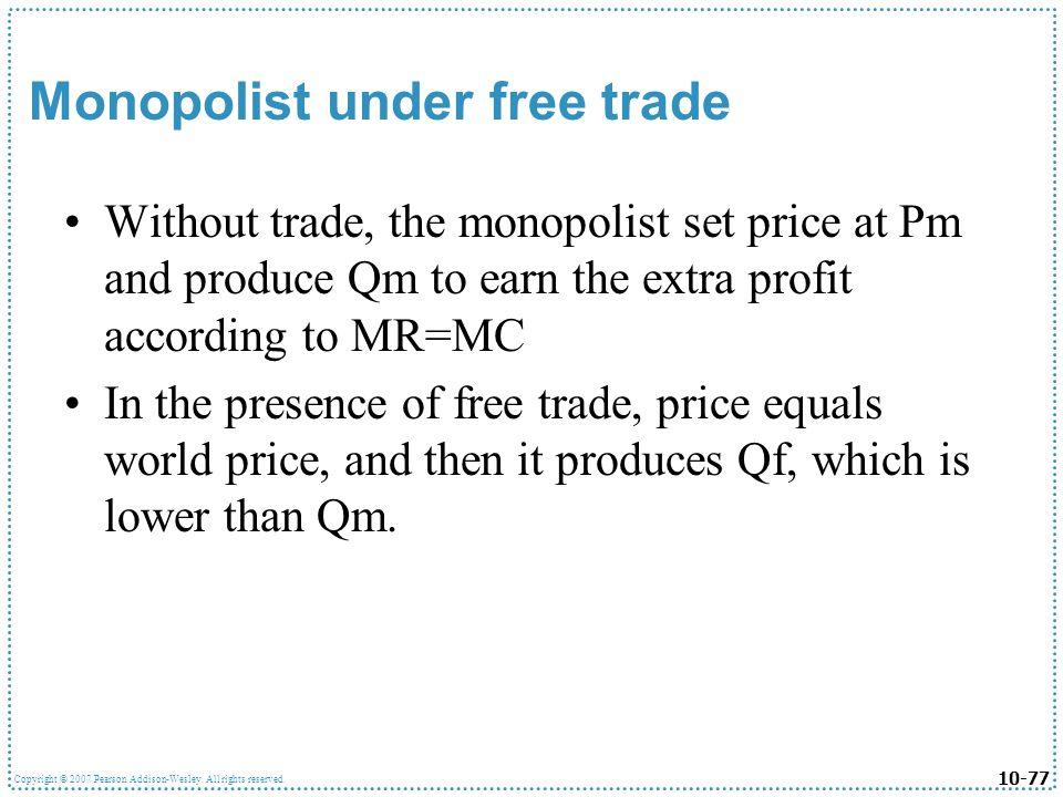Monopolist under free trade