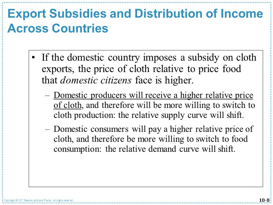 Export Subsidies and Distribution of Income Across Countries