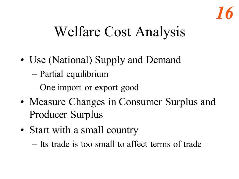 Welfare Cost Analysis Use (National) Supply and Demand