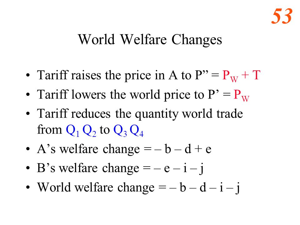 World Welfare Changes Tariff raises the price in A to P = PW + T