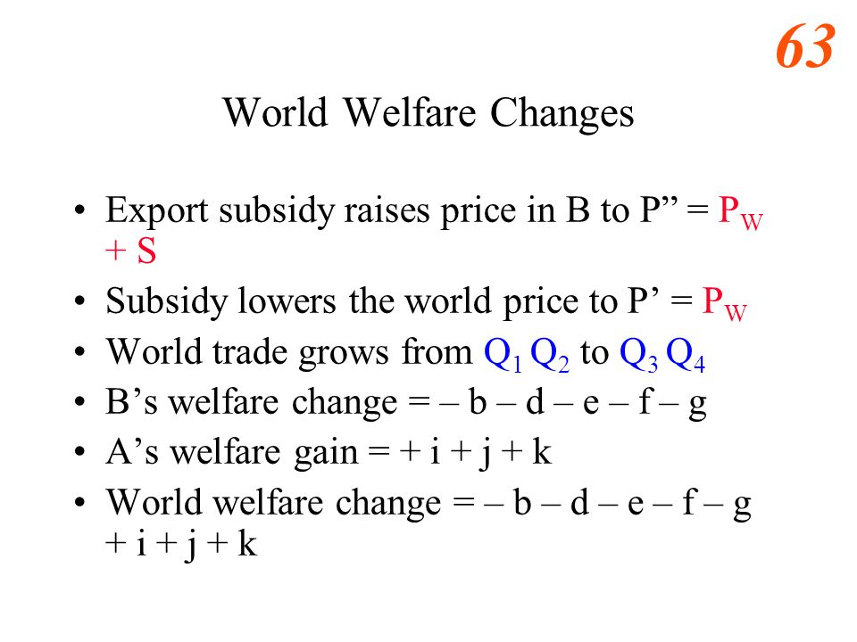 World Welfare Changes Export subsidy raises price in B to P = PW + S