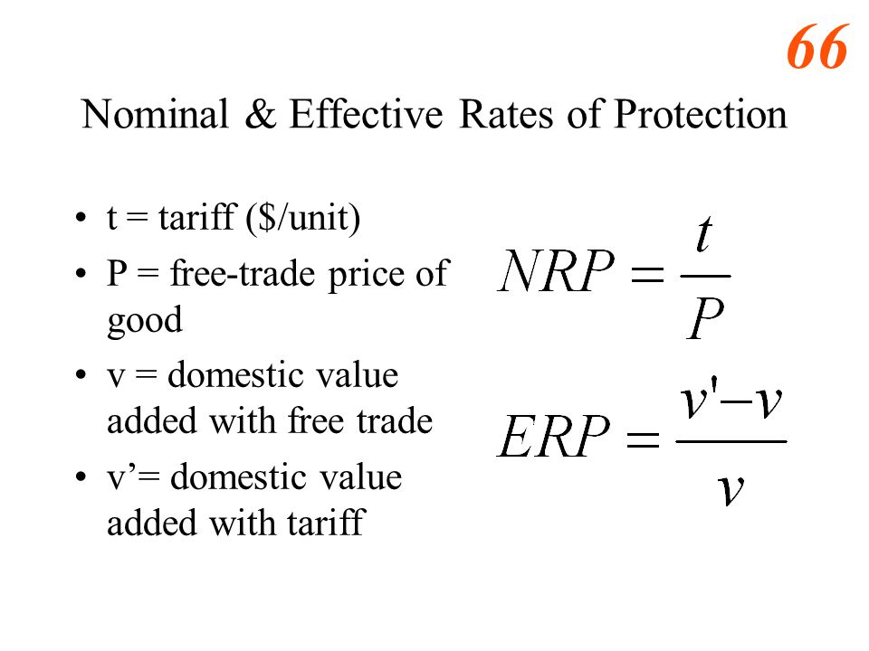 Nominal & Effective Rates of Protection