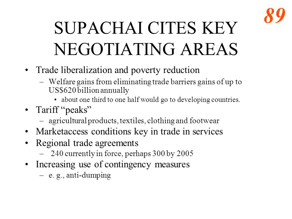 SUPACHAI CITES KEY NEGOTIATING AREAS