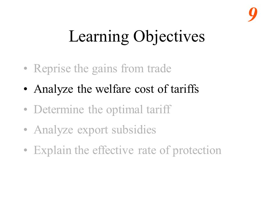 Learning Objectives Reprise the gains from trade
