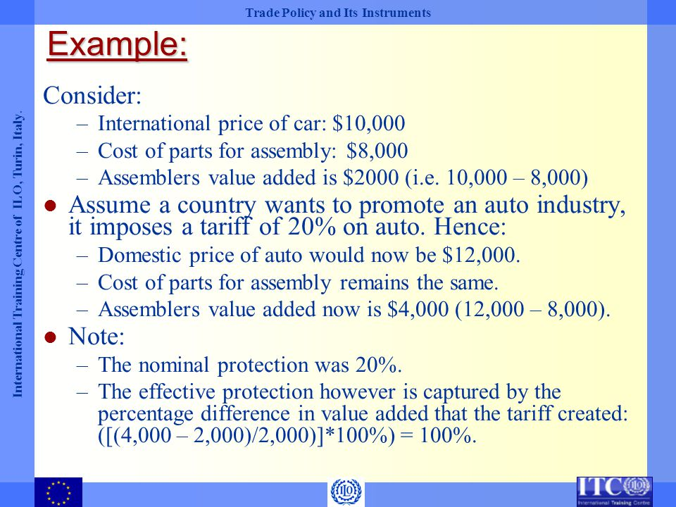 Example: Consider: International price of car: $10,000. Cost of parts for assembly: $8,000. Assemblers value added is $2000 (i.e. 10,000 – 8,000)