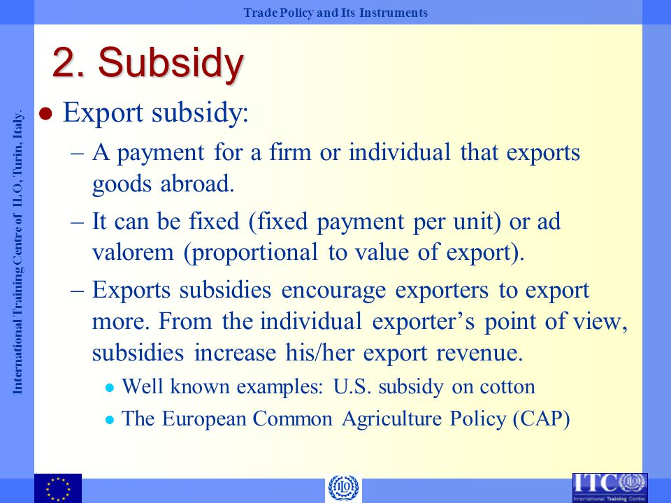 2. Subsidy Export subsidy: