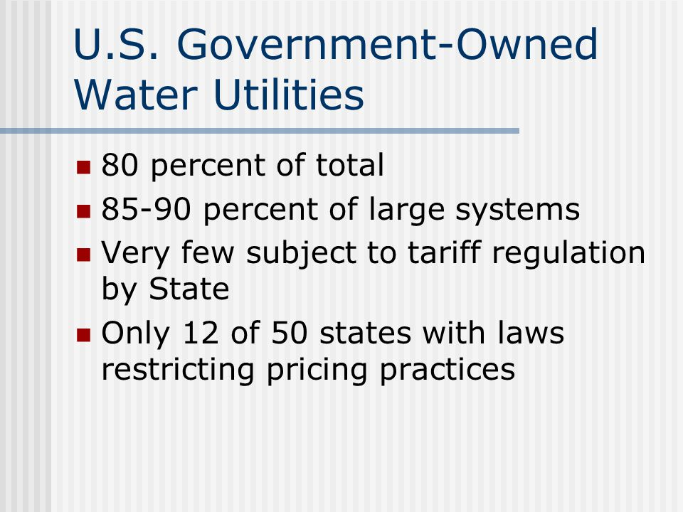 U.S. Government-Owned Water Utilities
