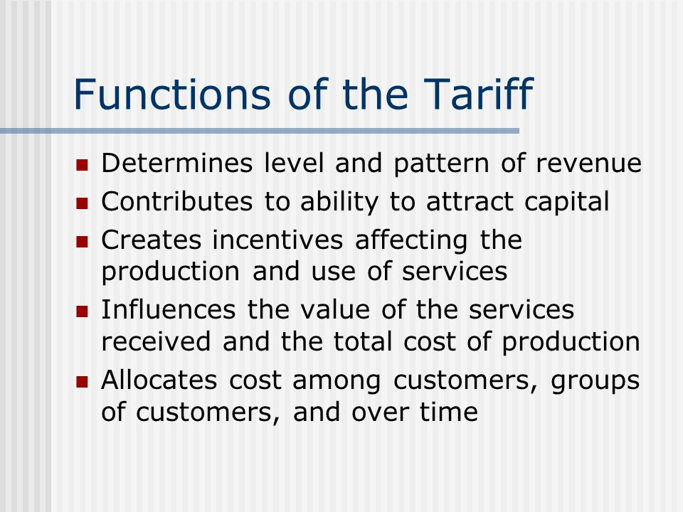 Functions of the Tariff