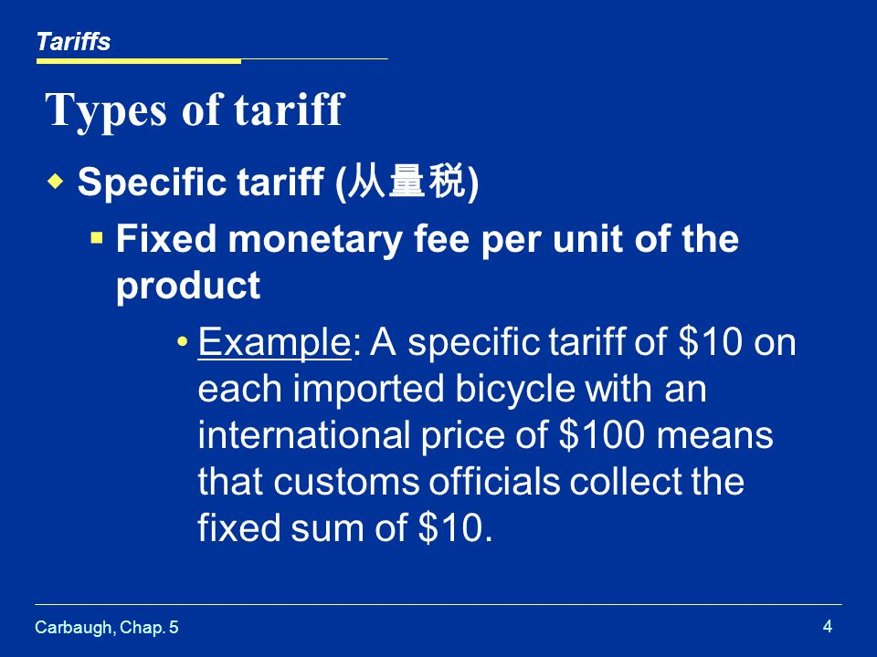 Types of tariff Specific tariff (从量税)