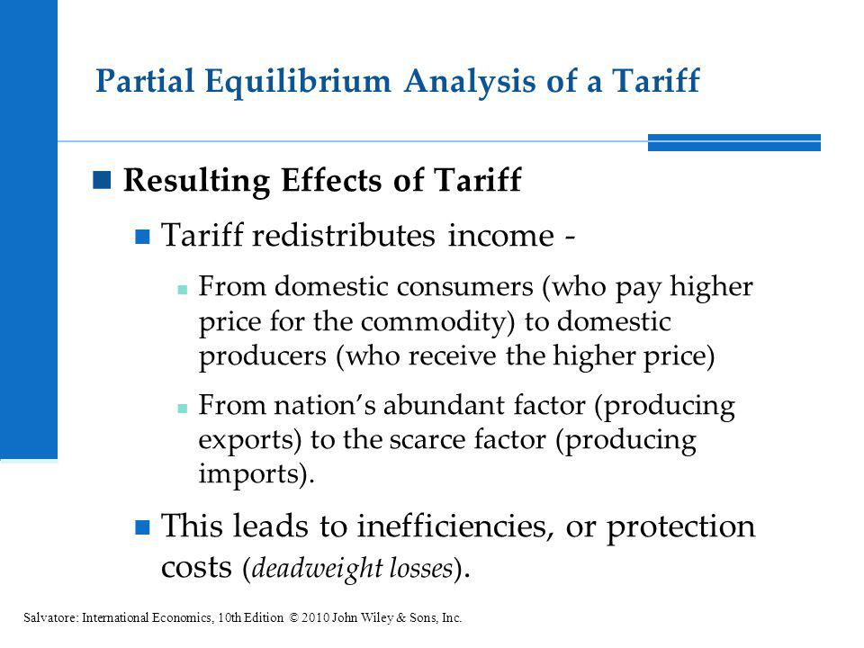 Partial Equilibrium Analysis of a Tariff