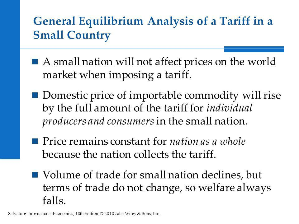 General Equilibrium Analysis of a Tariff in a Small Country