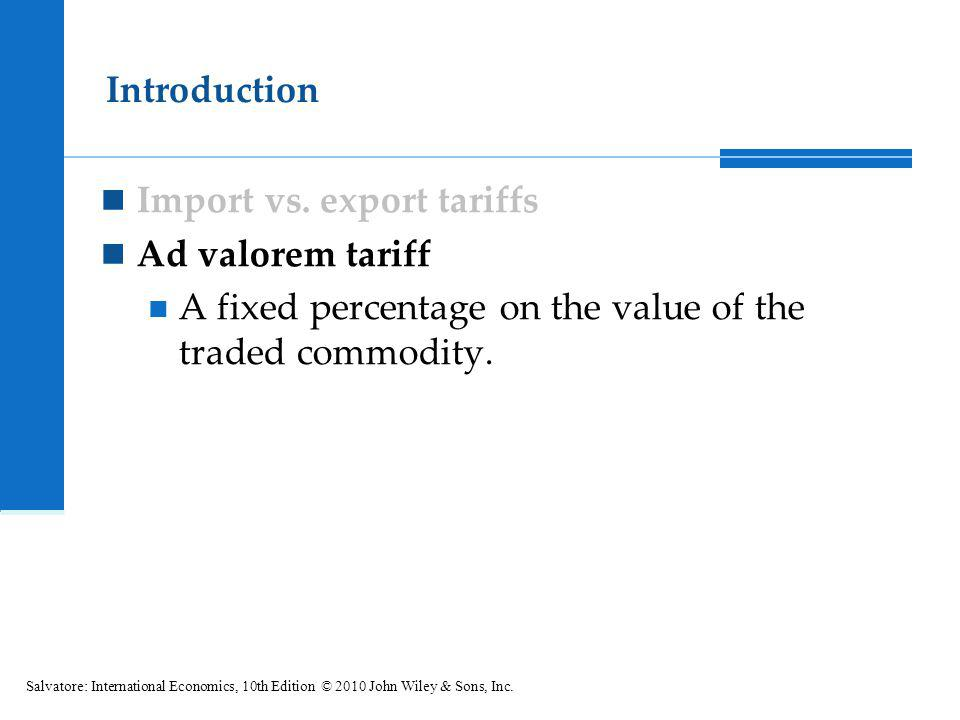 Import vs. export tariffs Ad valorem tariff