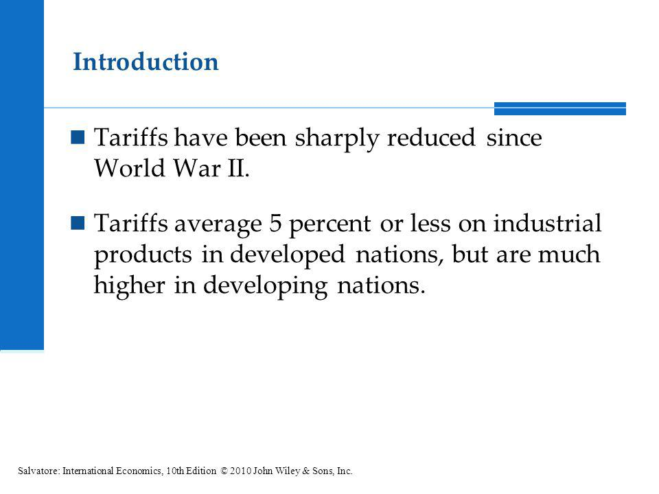 Tariffs have been sharply reduced since World War II.