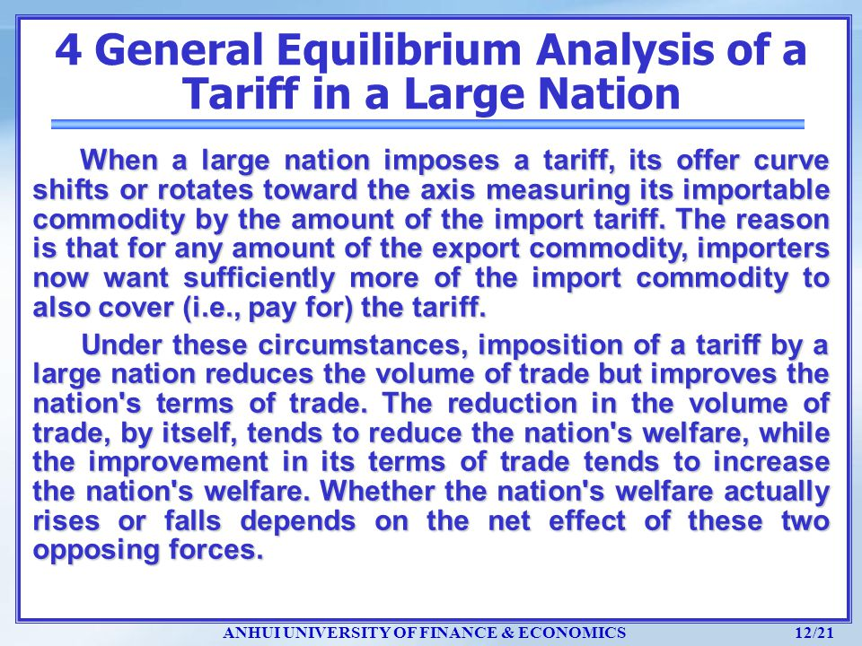 4 General Equilibrium Analysis of a Tariff in a Large Nation