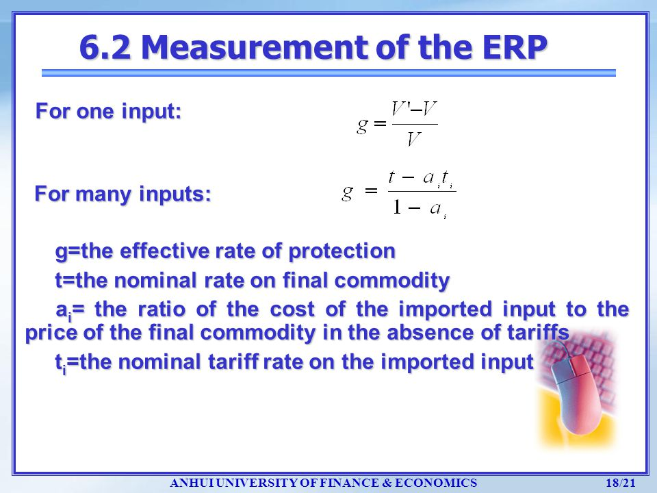 6.2 Measurement of the ERP For one input: For many inputs: