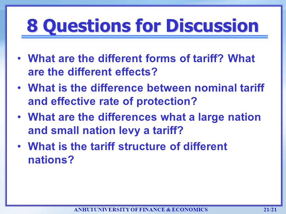 8 Questions for Discussion