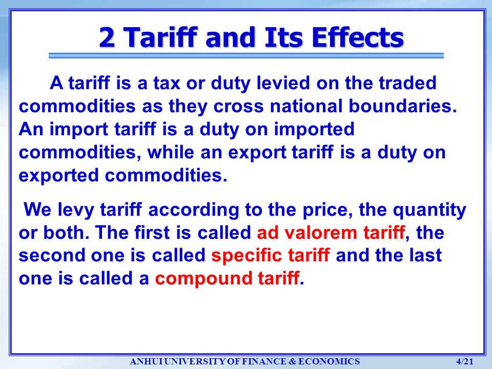 2 Tariff and Its Effects