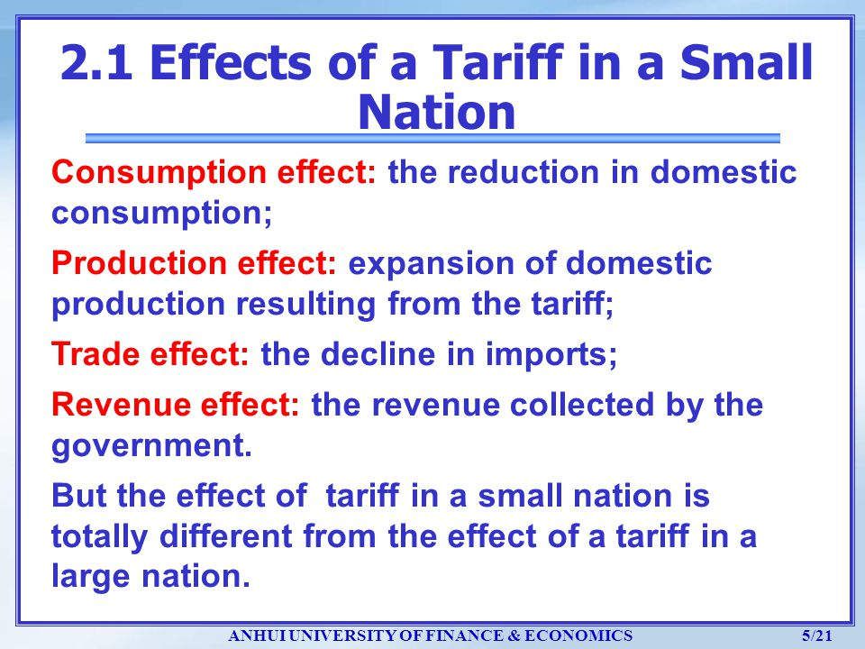 2.1 Effects of a Tariff in a Small Nation
