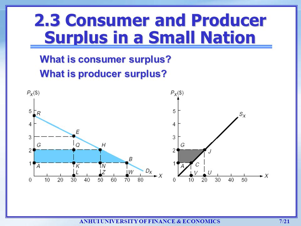 2.3 Consumer and Producer Surplus in a Small Nation