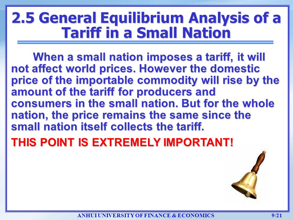 2.5 General Equilibrium Analysis of a Tariff in a Small Nation