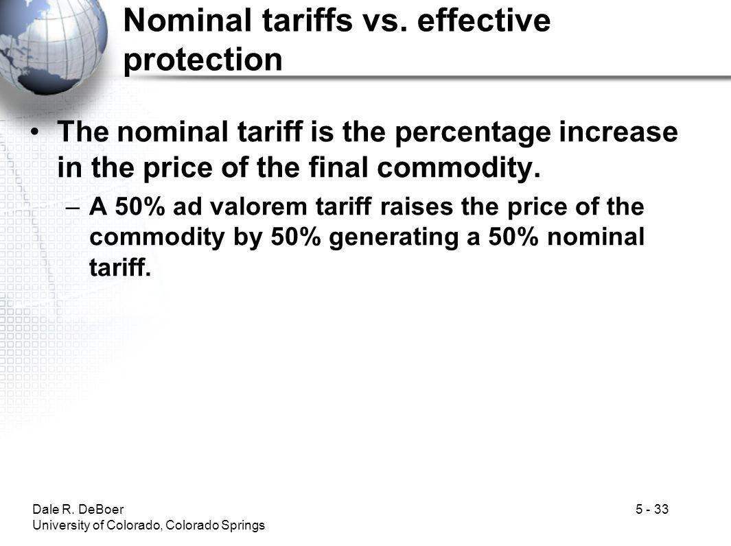 Nominal tariffs vs. effective protection