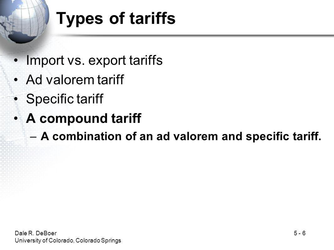 Types of tariffs Import vs. export tariffs Ad valorem tariff