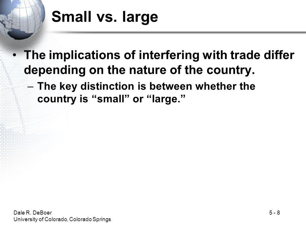 Small vs. large The implications of interfering with trade differ depending on the nature of the country.