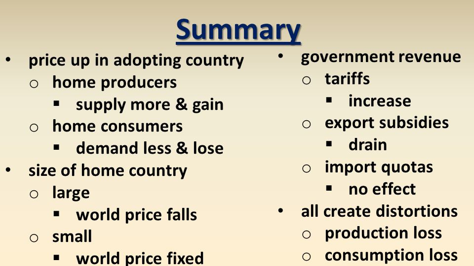 Summary government revenue price up in adopting country tariffs