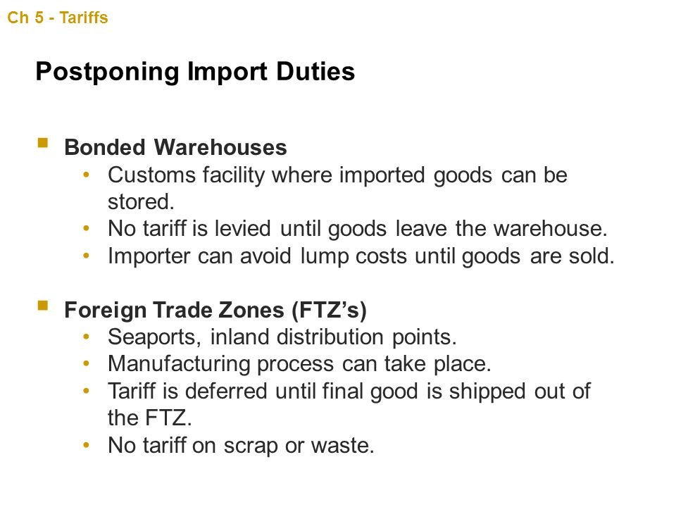 Postponing Import Duties