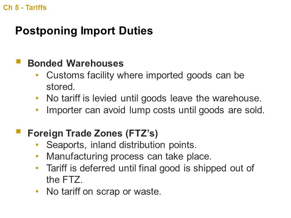 Postponing Import Duties
