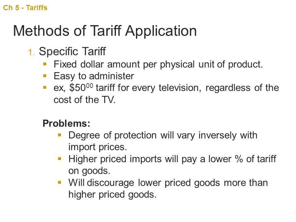 Methods of Tariff Application
