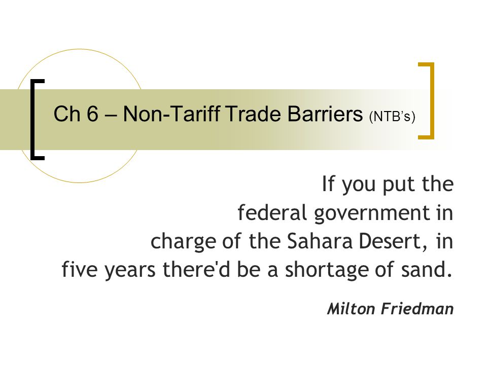 Ch 6 – Non-Tariff Trade Barriers (NTB's)