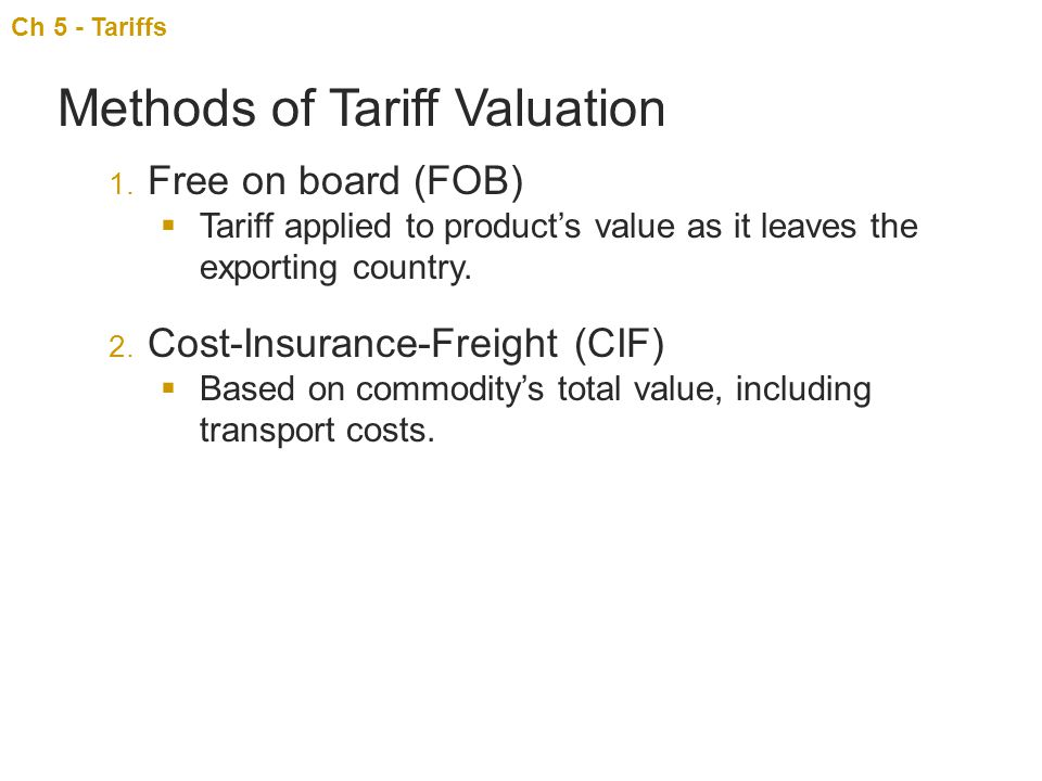 Methods of Tariff Valuation