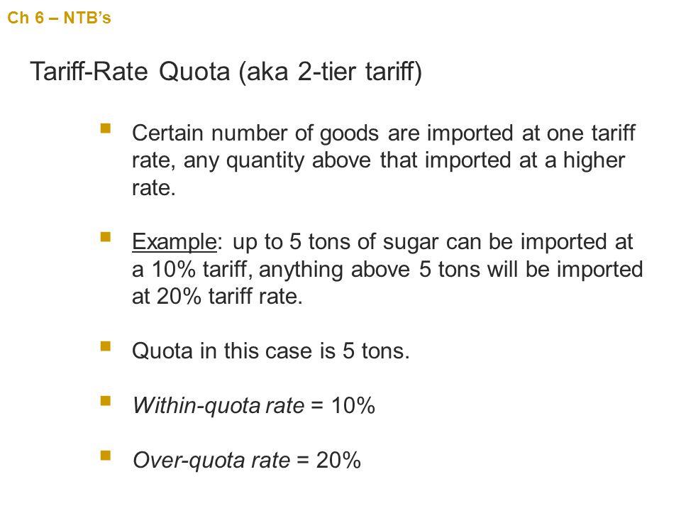 Tariff-Rate Quota (aka 2-tier tariff)