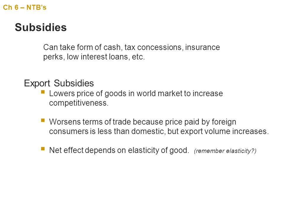 Subsidies Export Subsidies