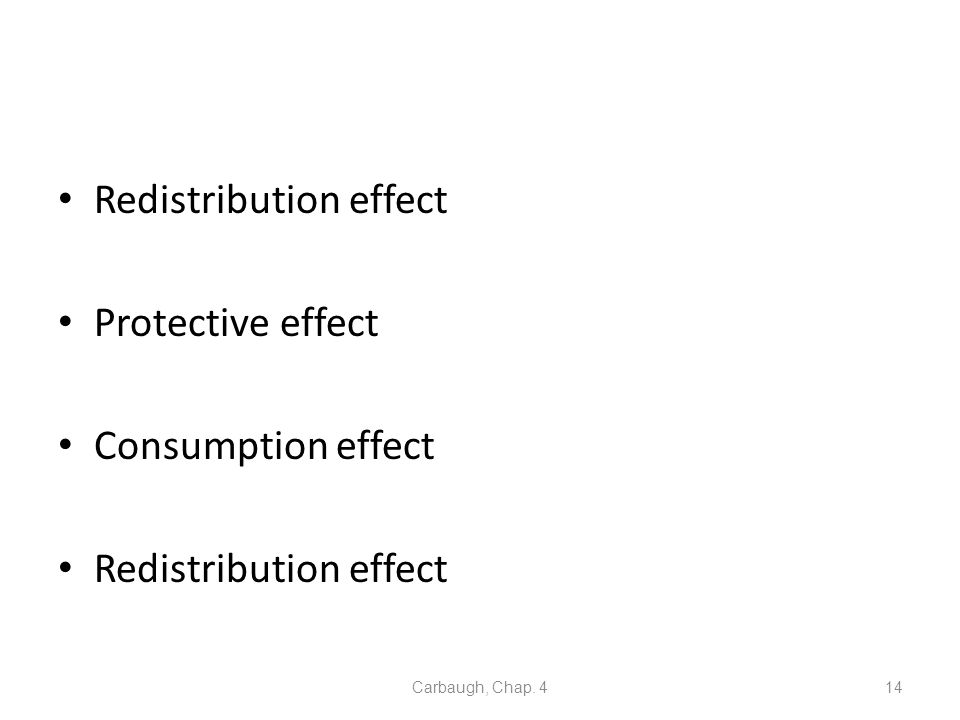 Redistribution effect Protective effect Consumption effect